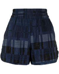 Baum und Pferdgarten Shorts im Patchwork-Look - Blau