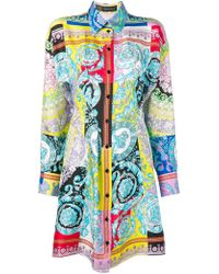 Versace Barocco Print Shirt Dress - Blue