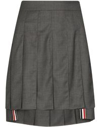 Thom Browne - Dropped Back Mini Pleated Skirt In Super 120's Twill - Lyst