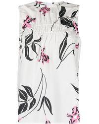 Marni Top sin mangas fruncido con estampado floral - Blanco