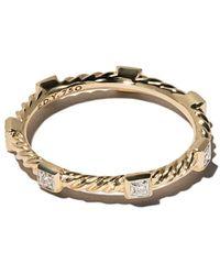 David Yurman 18kt Geelgoud Cable Collectibles Cable Diamanten Stack Ring - Meerkleurig