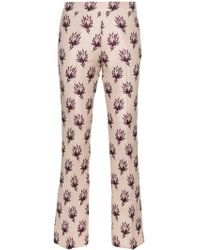 Giambattista Valli Floral Print Straight Trousers - Pink