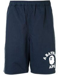 A Bathing Ape Logo-print Track Shorts - Blue