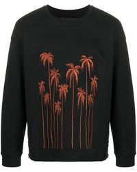 Christian Pellizzari Sweatshirt mit Palmenstickerei - Schwarz