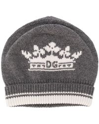 2ab45d3a742 Lyst - Dolce   Gabbana Logo Plaque Ribbed Knit Wool Beanie in Black ...