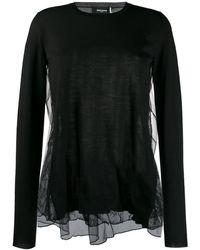 Rochas Contrast Lace Panel Blouse - Black