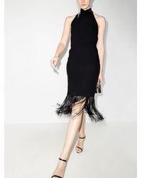 Taller Marmo Vestido midi con flecos - Negro