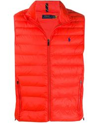 Polo Ralph Lauren Logo Embroidered Quilted Gilet - Orange