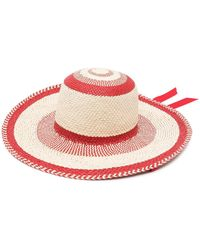 Gladys Tamez Millinery Striped Woven Hat - Red