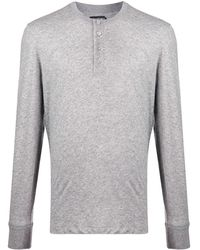 Tom Ford Jersey con cuello henley - Gris