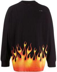 Palm Angels Sweater Met Vlammenprint - Zwart
