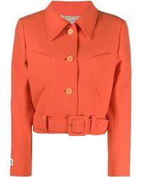 Courreges Belted Cropped Wool Jacket - Orange