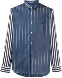 Comme des Garçons Полосатая Рубашка Со Вставками - Синий