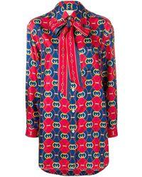 Gucci Рубашка С Узором GG Waves - Красный
