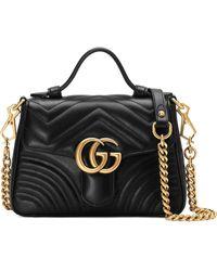 Gucci - 【公式】 (グッチ)〔GGマーモント〕ミニ トップハンドルバッグブラック シェブロン レザーブラック - Lyst