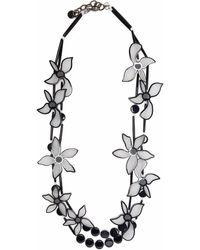 Giorgio Armani Oversized-flower Double Chain Necklace - Black