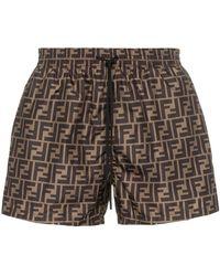 Fendi Ff Logo Print Swim Shorts - Черный