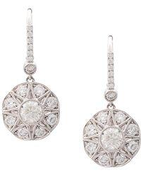 Marchesa 18kt White Gold Floral Diamond Drop Earrings - Multicolour