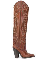 DSquared² Western Stitching Knee High Boots - Brown
