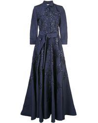 Carolina Herrera Vestido con motivo floral - Azul