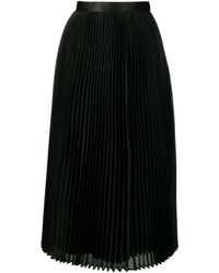 Junya Watanabe Плиссированная Расклешенная Юбка Миди - Черный