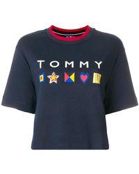Tommy Hilfiger - Cropped Logo T-shirt - Lyst