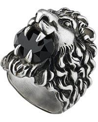 Gucci Lion Head Ring With Crystal - Multicolour
