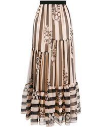 Twin Set Striped Full Skirt - Multicolour