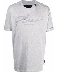 Philipp Plein Футболка С Вышитым Логотипом - Серый