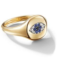 David Yurman 18kt Yellow Gold Cable Collectibles Evil Eye Sapphire And Diamond Mini Pinky Ring - Multicolour