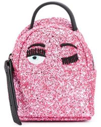 Chiara Ferragni Pink Glitter Backpack