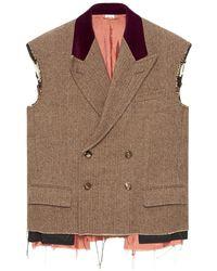 Gucci Herringbone Sleeveless Jacket - Brown