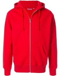 3b161177 Rib Zip Up Hoodie - Red