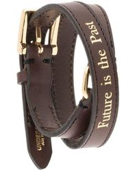Undercover Quote-print Buckled Bracelet - Brown