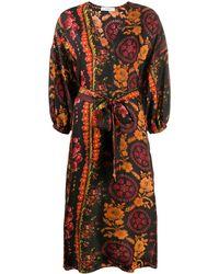 Roseanna Floral Wrap Dress - Brown