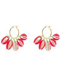 Venessa Arizaga Gold-plated Palm Tree-print Shell Earrings - Pink