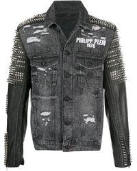 Philipp Plein Джинсовая Куртка С Заклепками - Серый