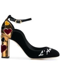 54531d6ed3a Dolce   Gabbana - Vally Velvet Court Shoes With Embroidery - Lyst