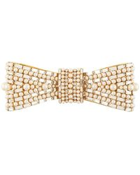 Dolce & Gabbana Embellished Bow-shaped Brooch - Metallic