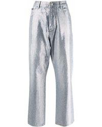 Philipp Plein Full Crystal ワイドジーンズ - ブルー