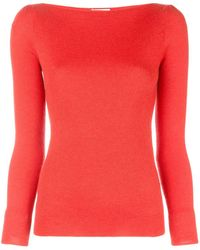 Co. Boat Neck Knitted Sweater - Red