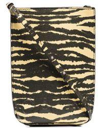 Ganni Mini pochette à motif tigre - Jaune