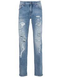 Dolce & Gabbana | Distressed Slim Fit Jeans | Lyst