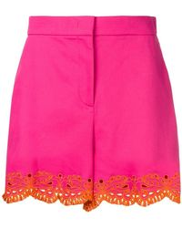 Emilio Pucci - Pink Sangallo Embroidered Shorts - Lyst