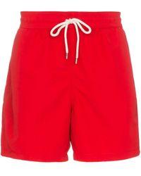 Polo Ralph Lauren Badeshorts mit Logo-Stickerei - Rot