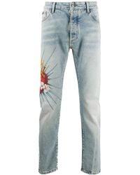 Palm Angels Jeans Met Print - Blauw