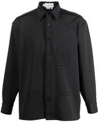 Xander Zhou ポインテッドカラー シャツ - ブラック
