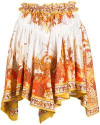 Zimmermann フローラル プリーツスカート - オレンジ