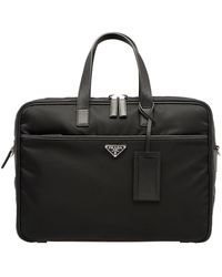 Prada ロゴ ビジネスバッグ - ブラック