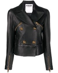 Versus - Double-breasted Jacket In Black Leather - Lyst